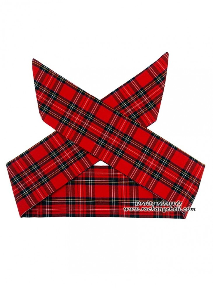 "Foulard Cheveux Rockabilly Rock Punk Rock Ange'Hell ""Red Tartan"""