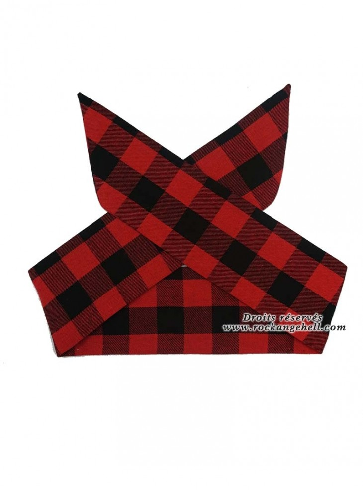 """Foulard Cheveux Rockabilly Retro Pin-Up Rock Ange'Hell """"Red Check"""""""