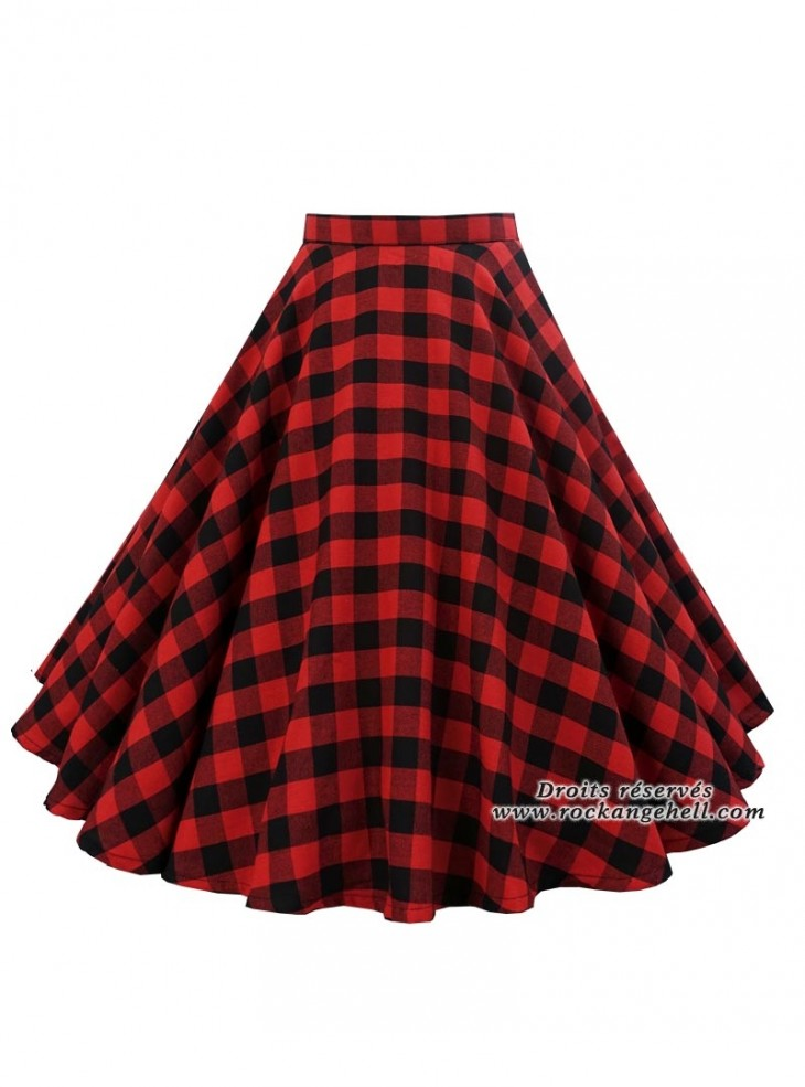"Jupe Rockabilly Pin-Up Retro Rock Ange'Hell ""Lyna Red Check"""