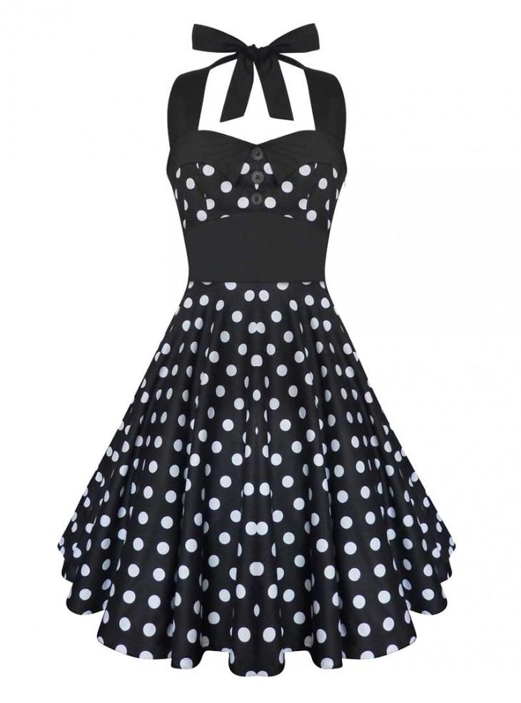 """Robe Rockabilly Vintage Swing """"Ashley Black White polka dots"""""""