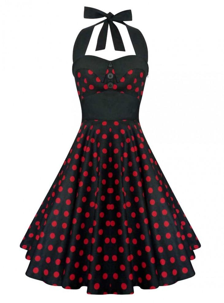 "Robe Vintage Rockabilly Swing ""Ashley Black Red polka dots"""