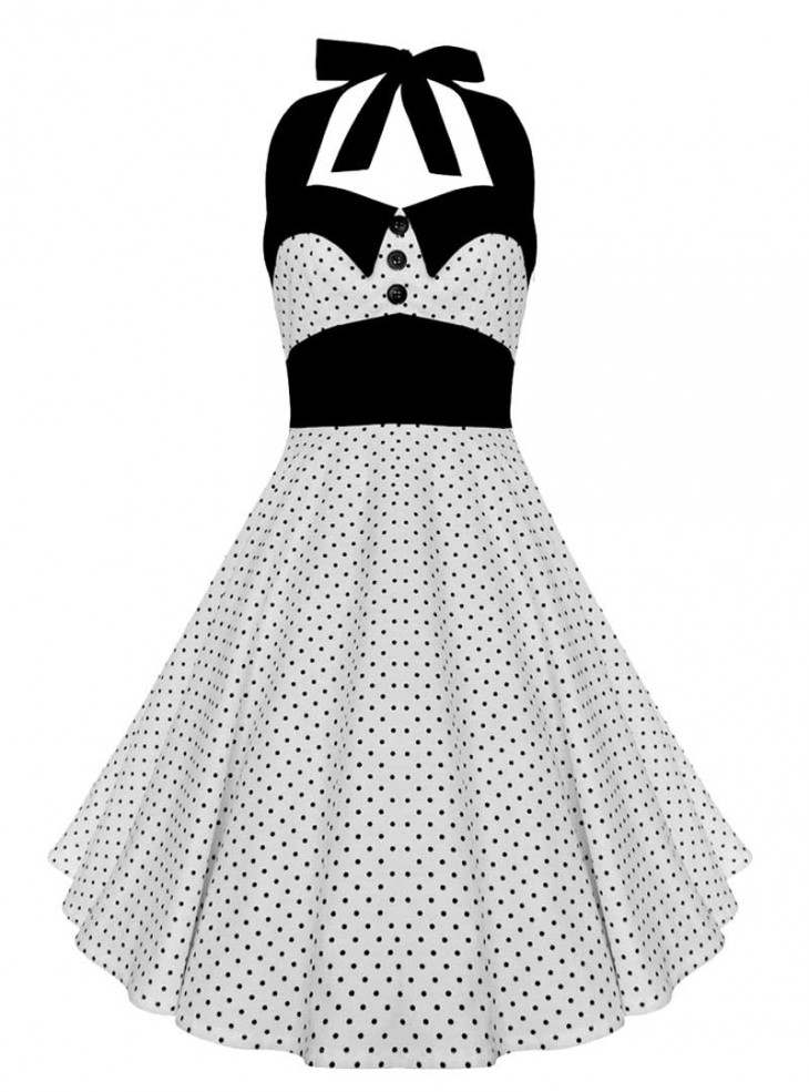 "Robe Retro Vintage Rockabilly Swing ""Ashley White Black mini polka dots"""