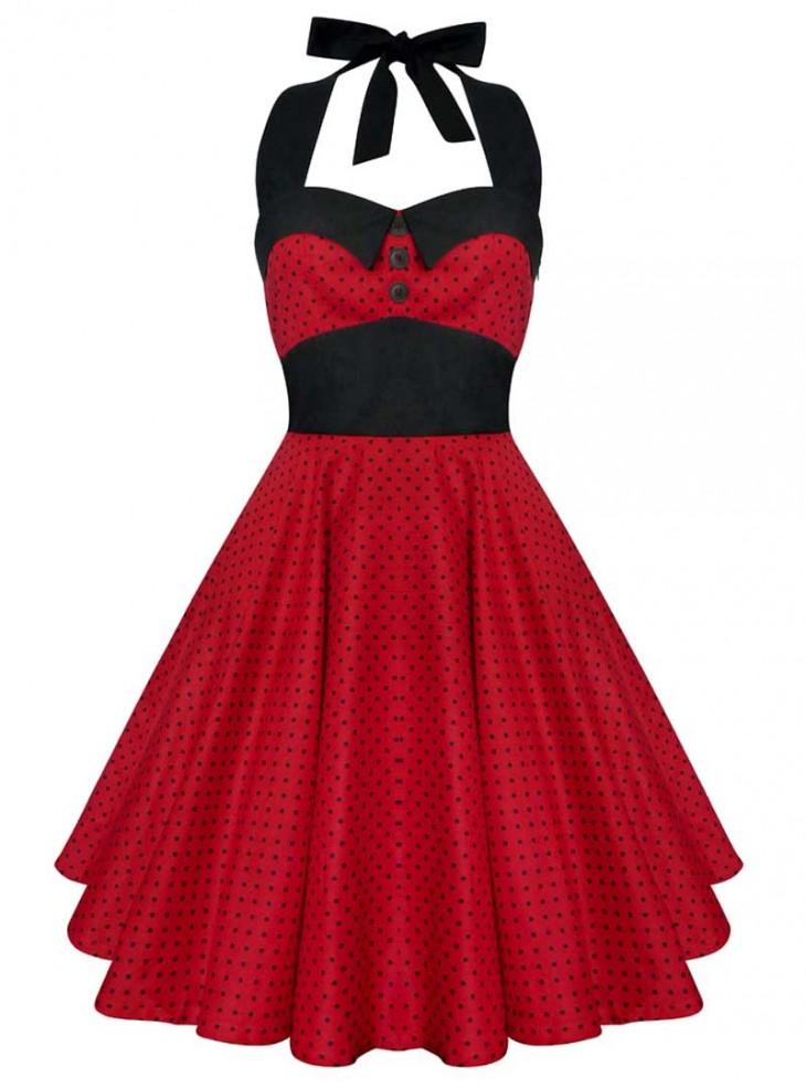 "Robe Vintage Retro Swing ""Ashley Red Black Small dots"""