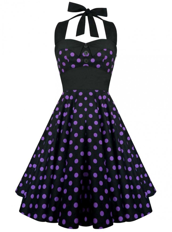 "Robe Rockabilly Vintage Retro ""Ashley Black purple polka dots"""