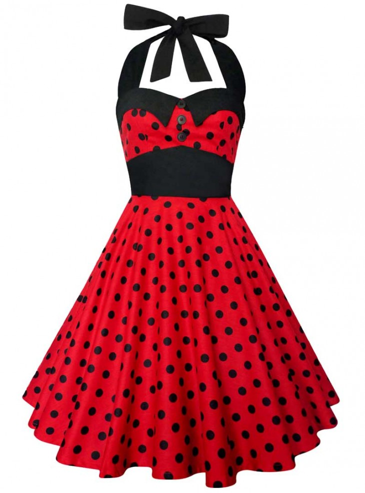 "Robe Vintage Rockabilly Swing ""Ashley Red Black polka dots"""