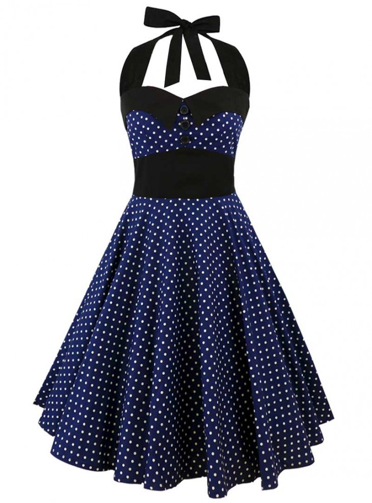 "Robe Rockabilly Retro Vintage Rock Ange'Hell ""Ashley Dark Blue White small polka dots"""