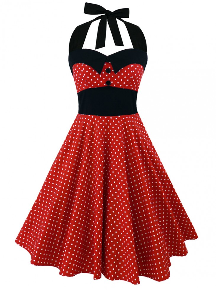 "Robe Rockabilly Retro Vintage Rock Ange'Hell ""Ashley Red White small polka dots"""