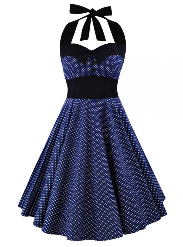 "Robe Pin-Up Rockabilly Vintage Rock Ange'Hell ""Ashley Dark Blue White mini polka dots"""
