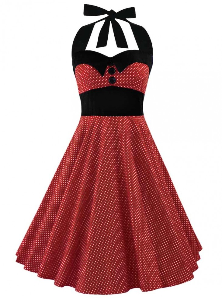 "Robe Pin-Up Rockabilly Années 50 Rock Ange'Hell ""Ashley Red White mini polka dots"""