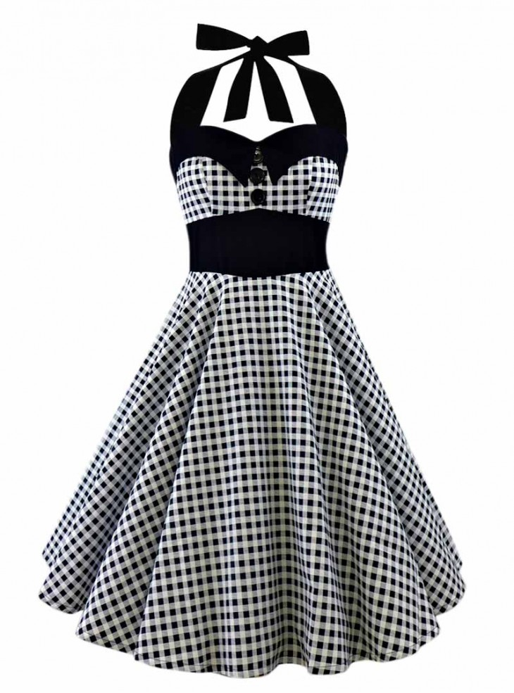 "Robe Pin-Up Rockabilly Années 50 Rock Ange'Hell ""Ashley Grey Vichy"""
