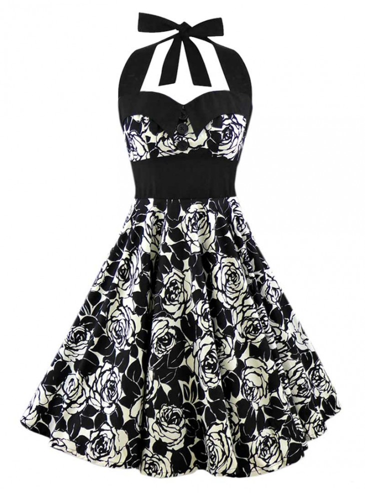 "Robe Retro Pin-Up Rockabilly Rock Ange'Hell ""Ashley White Flowers"""