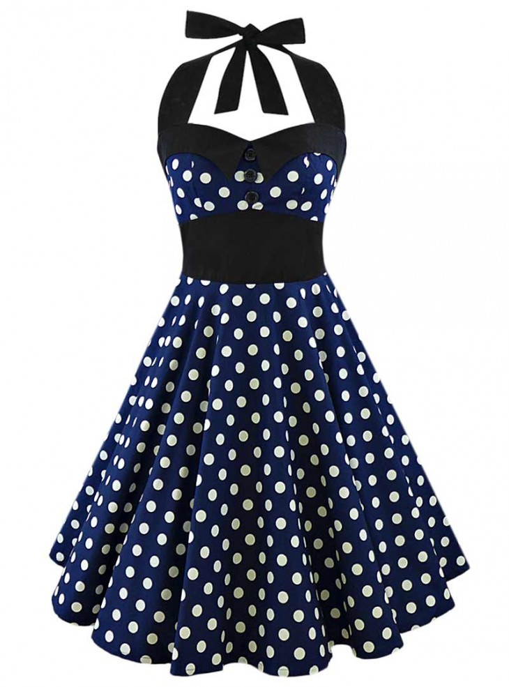 "Robe Pin-Up Rockabilly Vintage Rock Ange'Hell ""Ashley Dark Blue White Big Dots"""