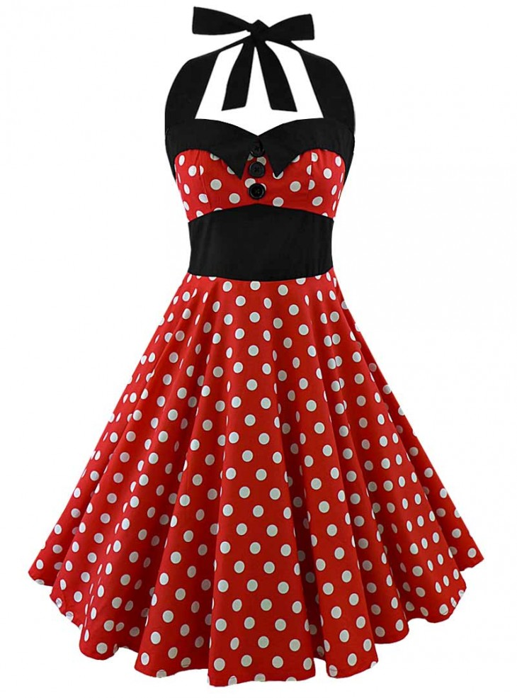 "Robe Pin-Up Rockabilly Vintage Rock Ange'Hell ""Ashley Red White Big Dots"""