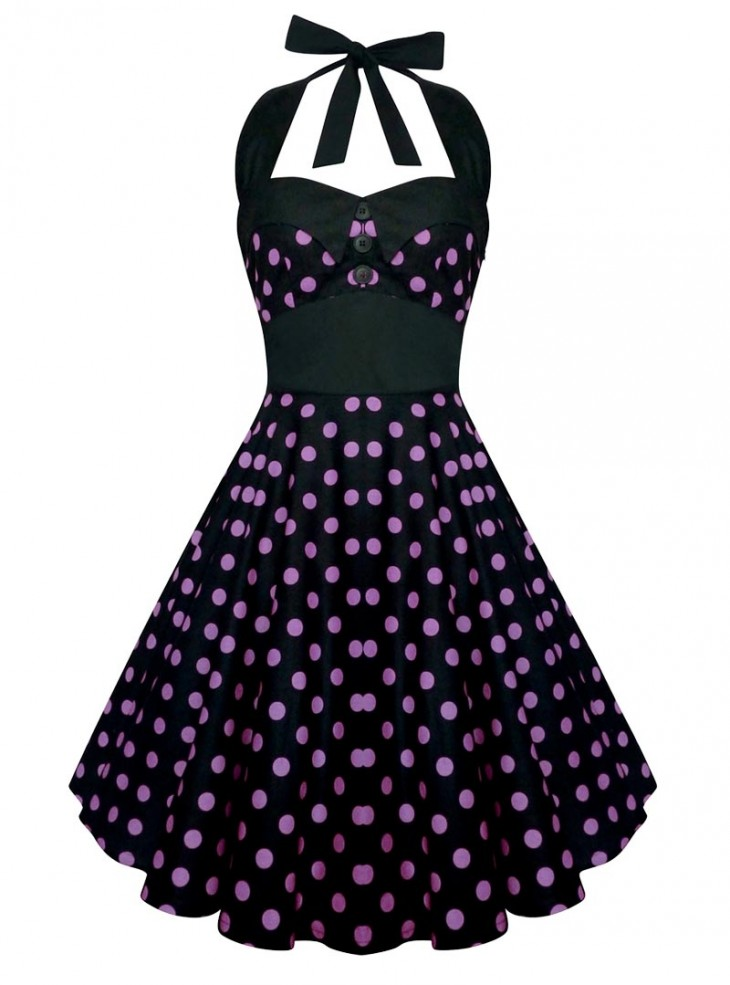 "Robe Pin-Up Rockabilly Vintage Rock Ange'Hell ""Ashley Black Parme Dots"""