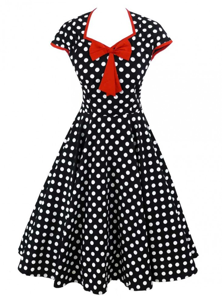 "Robe Pin-Up Rockabilly Vintage Rock Ange'Hell ""Emma Red Bow"""
