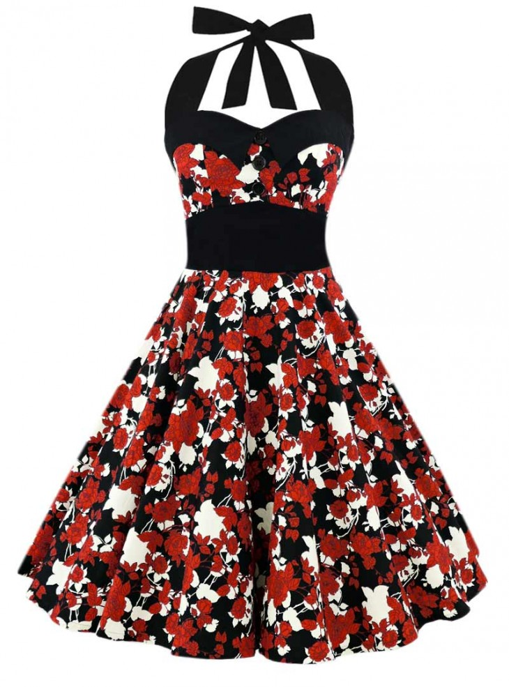 "Robe Pin-Up Vintage Retro Rockabilly Rock Ange'Hell ""Ashley Japan Flowers"""