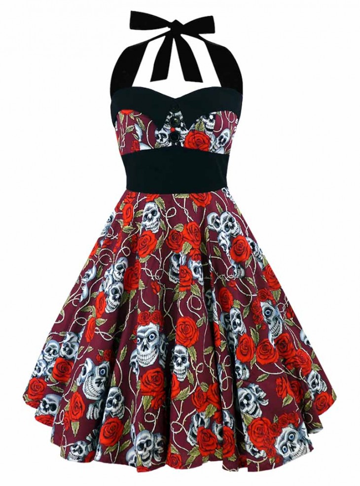 "Robe Rock Gothique Rockabilly Rock Ange'Hell ""Ashley Red Skulls & Roses"""