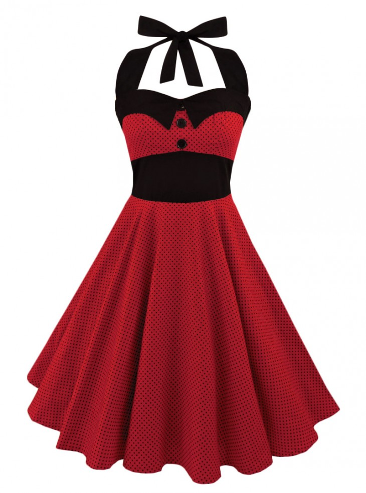 "Robe Rockabilly Pin-Up Retro Swing Rock Ange'Hell ""Ashley Red mini Black dots"""