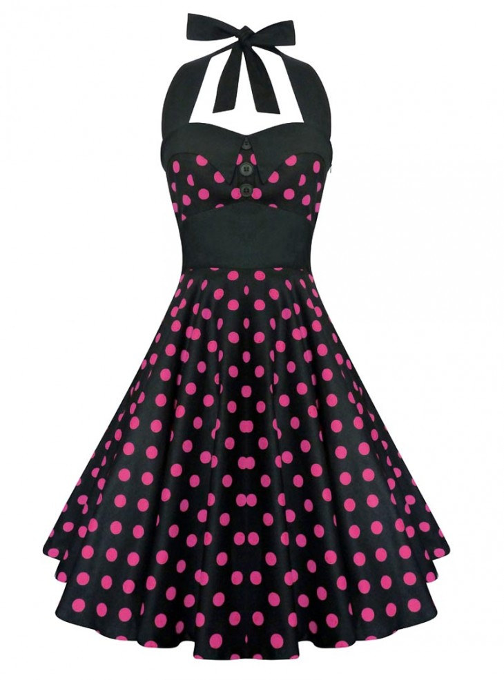 "Robe Pin-Up Rockabilly Vintage Rock Ange'Hell ""Ashley Black Pink Dots"""