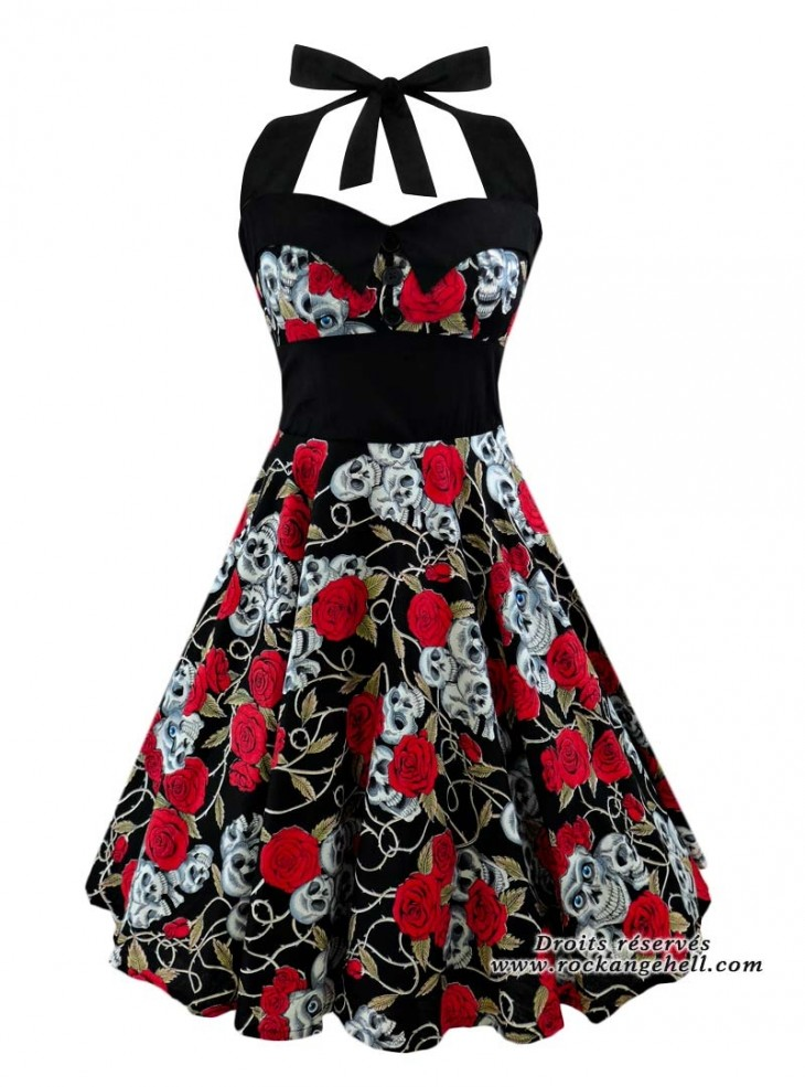 "Robe Rock Gothique Rockabilly Rock Ange'Hell ""Ashley Skulls & Roses"""