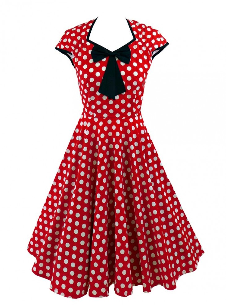 "Robe Pin-Up Rockabilly Retro Rock Ange'Hell ""Emma Red White Big Dots"""