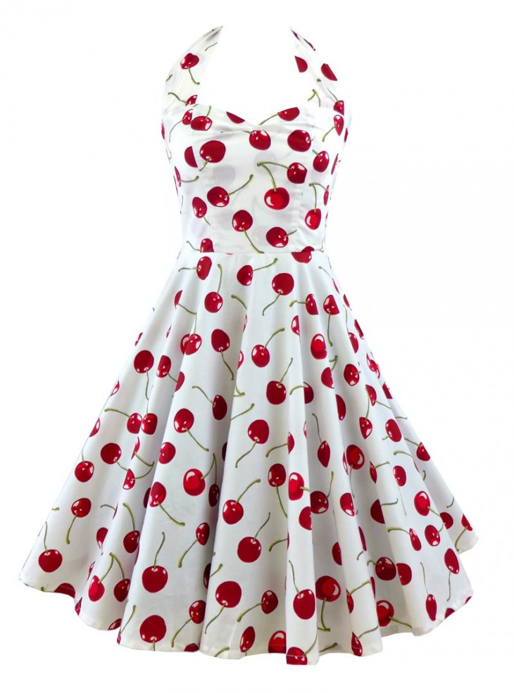 "Robe Pin-Up Rockabilly Retro Rock Ange'Hell ""Vivien White Cherry"""