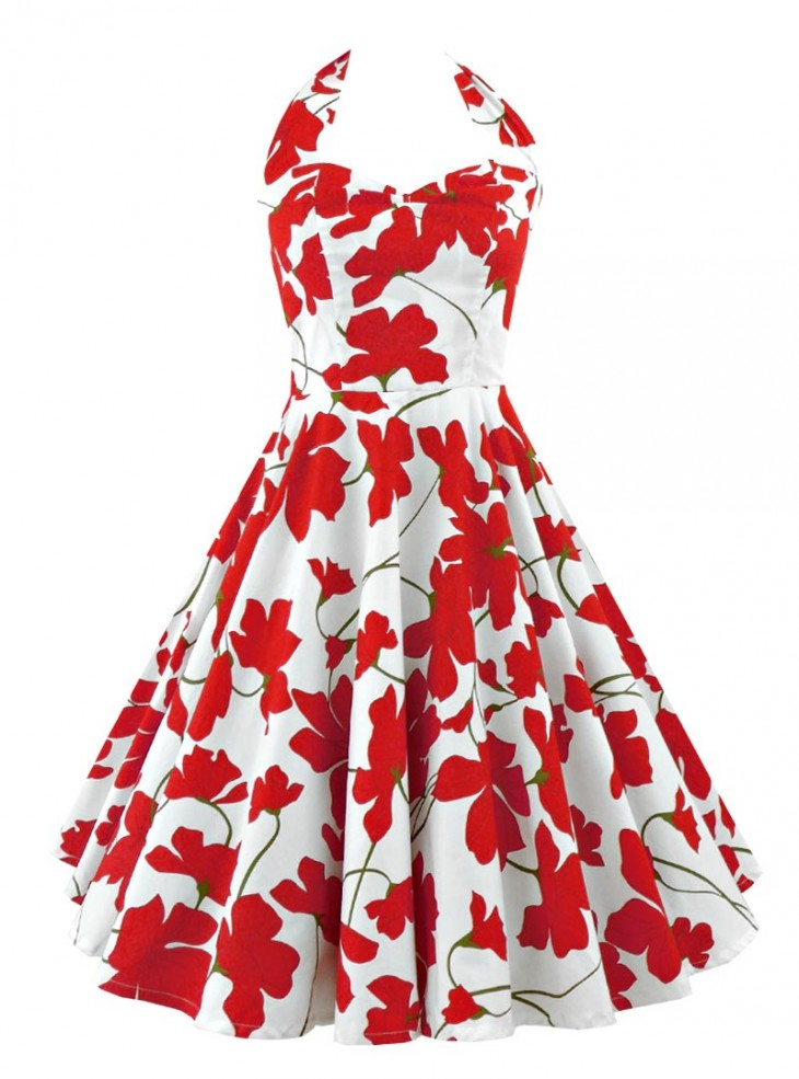"Robe Pin-Up Rockabilly Retro Rock Ange'Hell ""Vivien Red Flowers"""