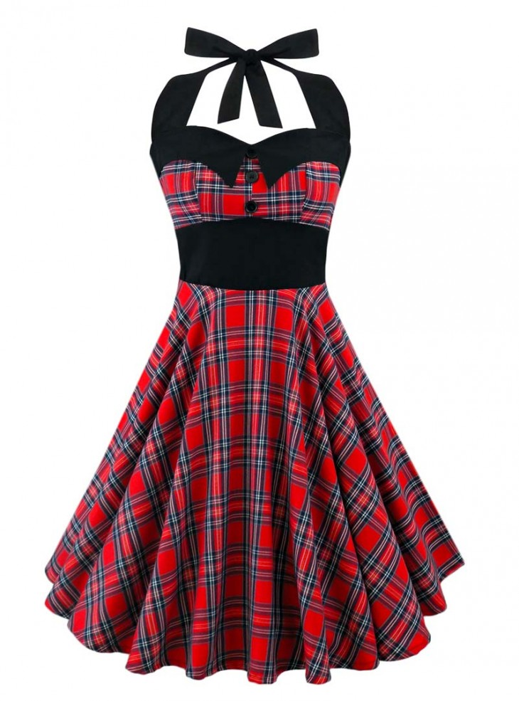 "Robe Rock Punk Rockabilly Rock Ange'Hell ""Ashley Red Gold Tartan"""