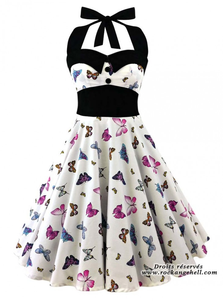 "Robe Pin-Up Rockabilly Swing Papillon Rock Ange'Hell ""Ashley Butterfly"""