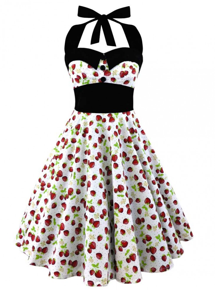 "Robe Pin-Up Rockabilly Retro Fraise Rock Ange'Hell ""Ashley Strawberry"""