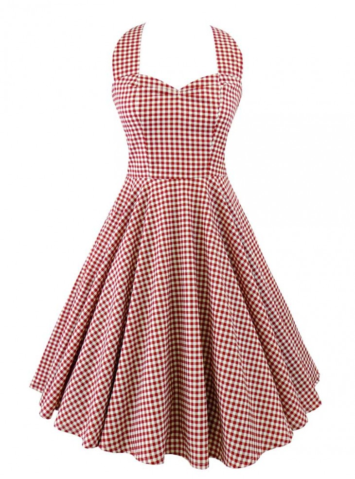 "Robe Années 50 Pin-Up Rockabilly Rock Ange'Hell ""Vivien Red Vichy"""