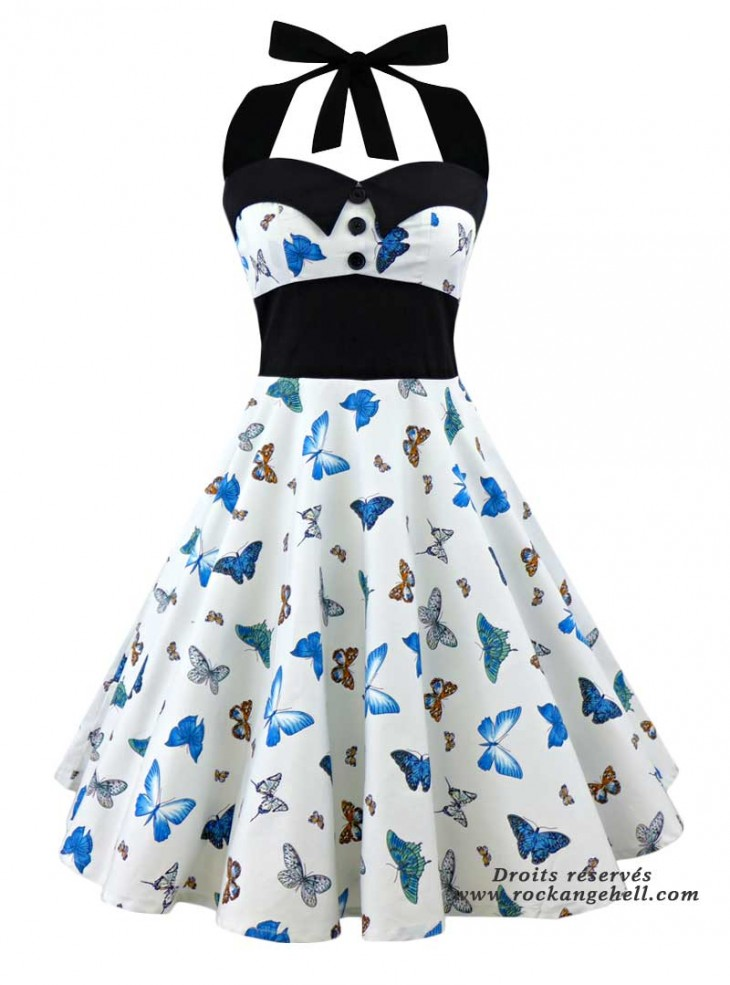 """Robe Pin-Up Rockabilly Années 50 Papillon Rock Ange'Hell """"Ashley Blue Butterfly"""""""