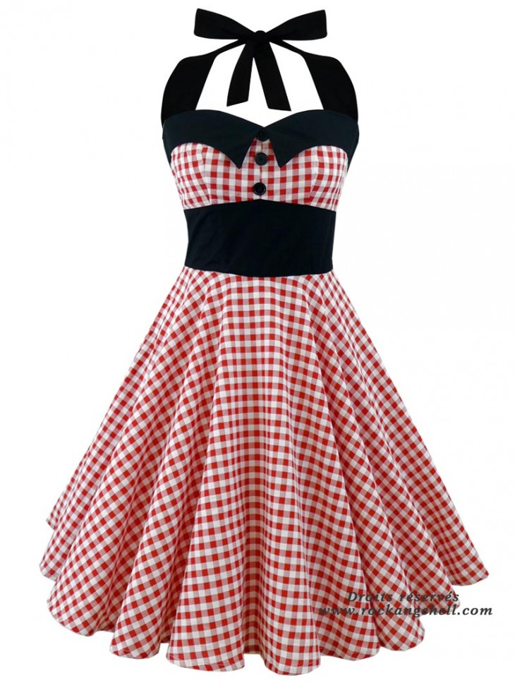"Robe Rockabilly Pin-Up Années 50 Rock Ange'Hell ""Ashley Red Vichy"""