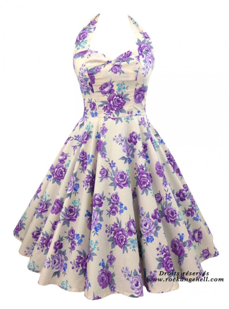 "Robe Pin-Up Années 50 Rockabilly Rock Ange'Hell ""Vivien Purple Flowers"""