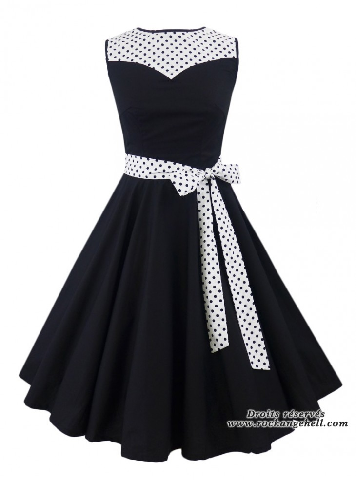 "Robe Pin-Up Années 50 Rockabilly Rock Ange'Hell ""Olivia White Black Dots"""