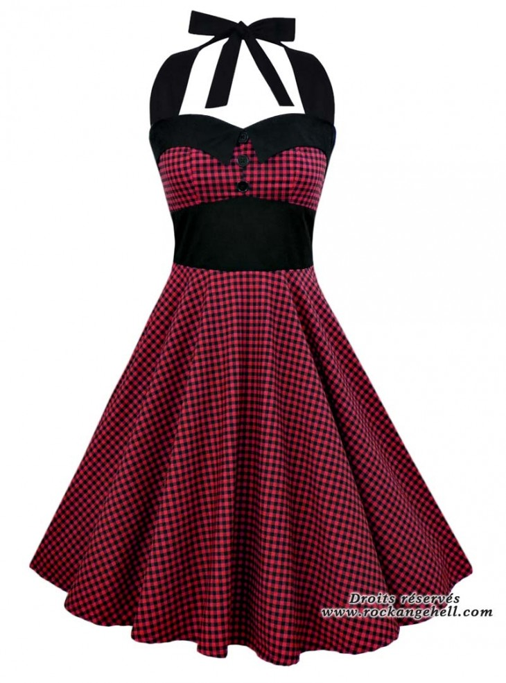 "Robe Rockabilly Pin-Up Retro Swing Rock Ange'Hell ""Ashley Red Black Vichy"""