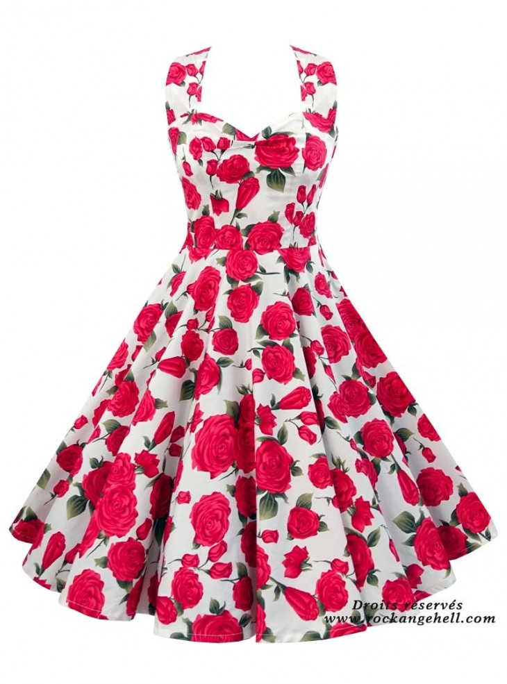 "Robe Pin-Up Années 50 Rockabilly Rock Ange'Hell ""Vivien Red Roses"""