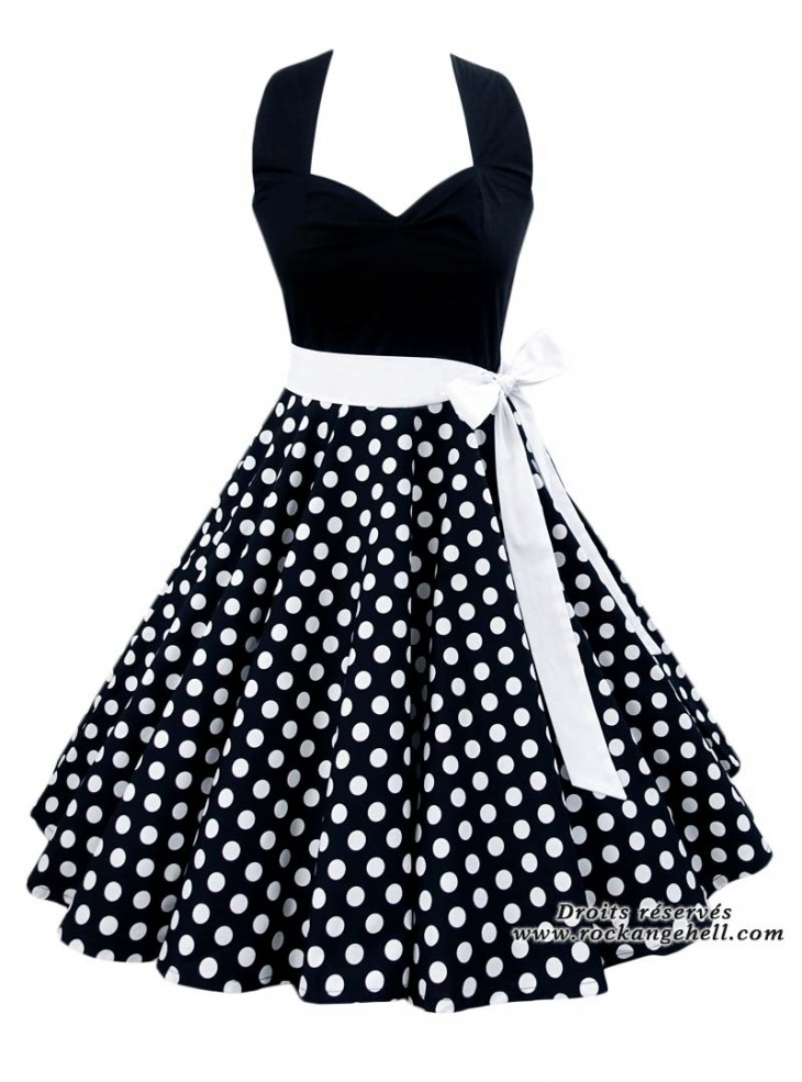 "Robe Rockabilly Retro Pin-Up Rock Ange'Hell ""Vivien Black White Dots"""