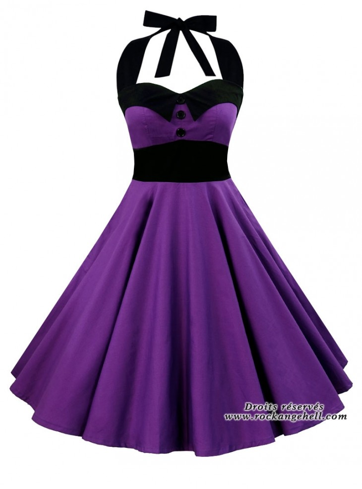 "Robe Rockabilly Rock Gothique Rock Ange'Hell ""Ashley Just Purple"""