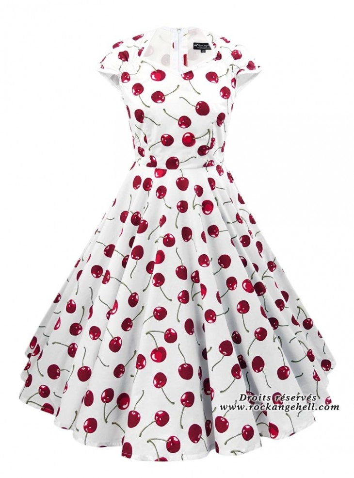 "Robe Vintage Rockabilly Retro Rock Ange'Hell ""Ellen White Red Cherry"""
