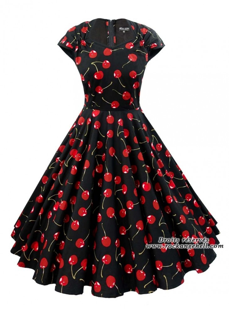 "Robe Retro Vintage Rockabilly Rock Ange'Hell ""Ellen Black Red Cherry"""