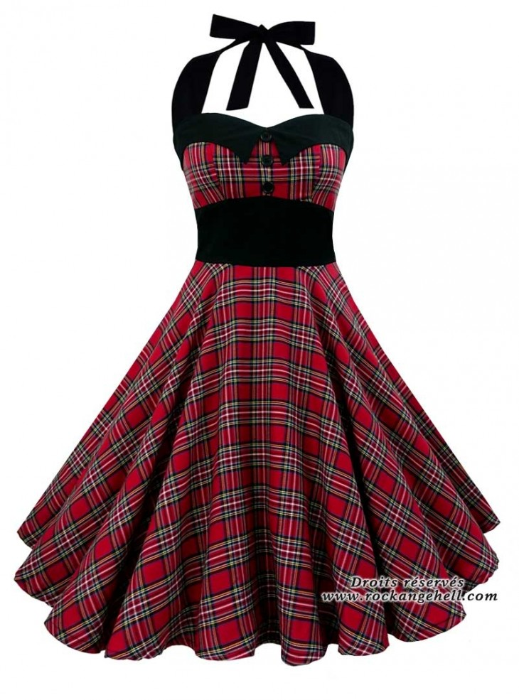 "Robe Rockabilly Rock Punk Rock Ange'Hell ""Ashley Red Tartan"""