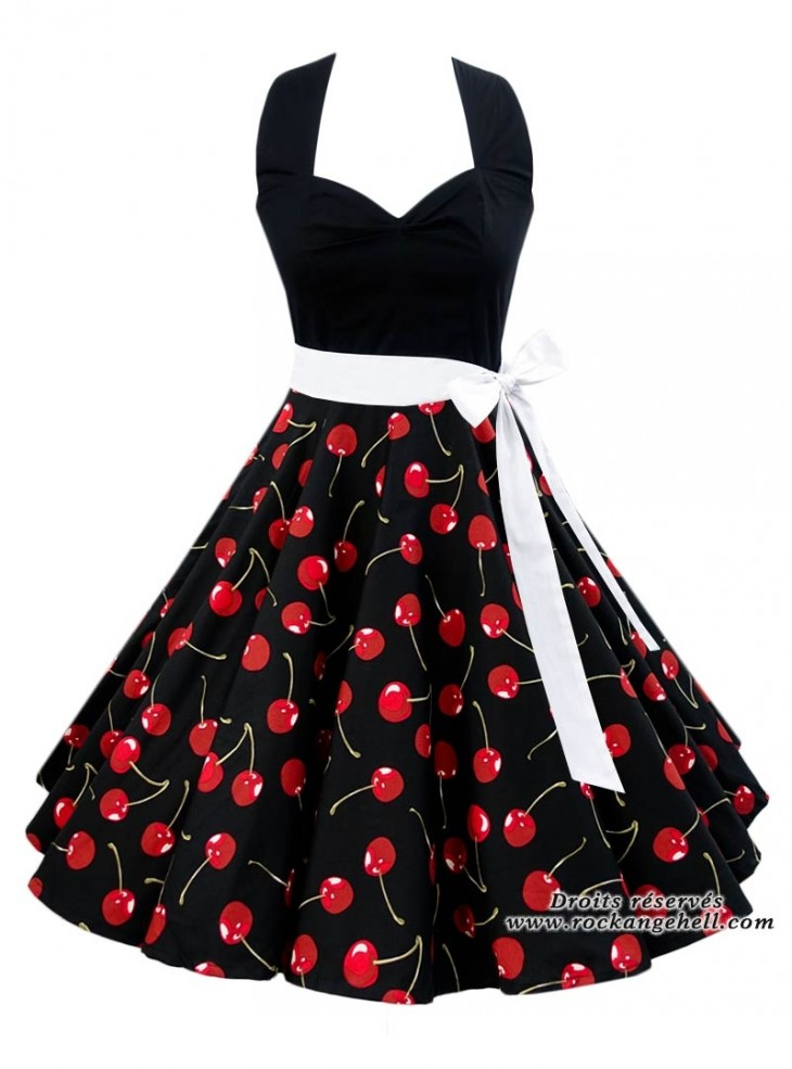 "Robe Pin-Up Rockabilly Années 50 Rock Ange'Hell ""Vivien Black Cherry"""