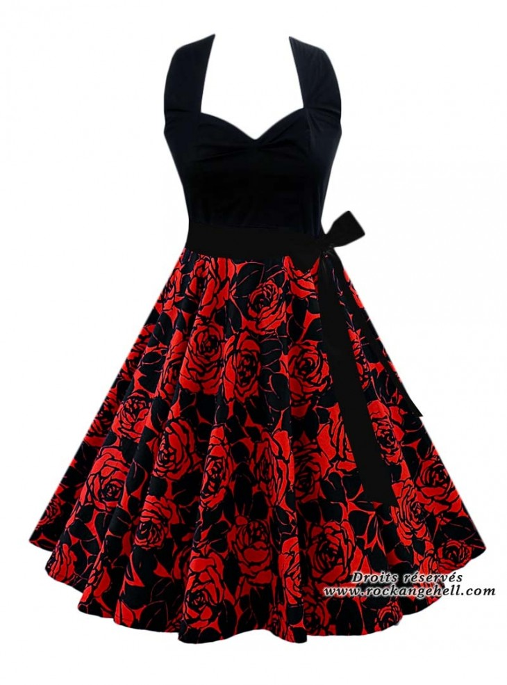 "Robe Rockabilly Retro Années 50 Rock Ange'Hell ""Vivien Black Red Flowers"""