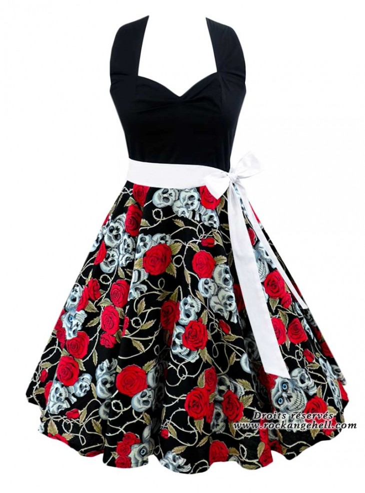 "Robe Rockabilly Gothique Rock Ange'Hell ""Vivien Black Skull & Roses"""