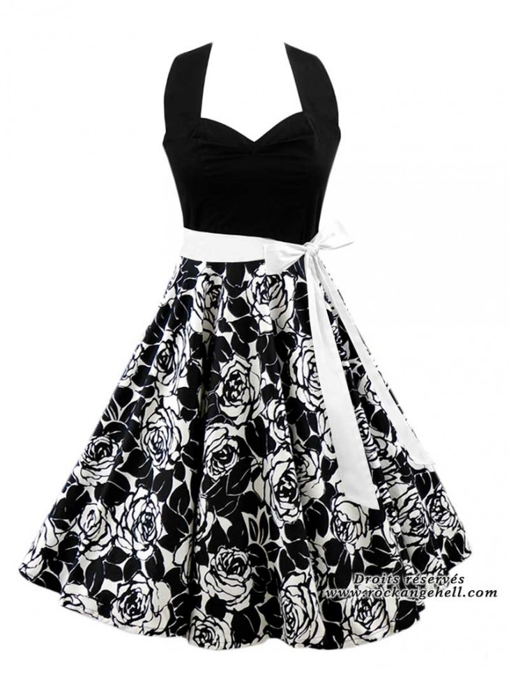 "Robe Pin-Up Retro Années 50 Rock Ange'Hell ""Vivien Black White Flowers"""