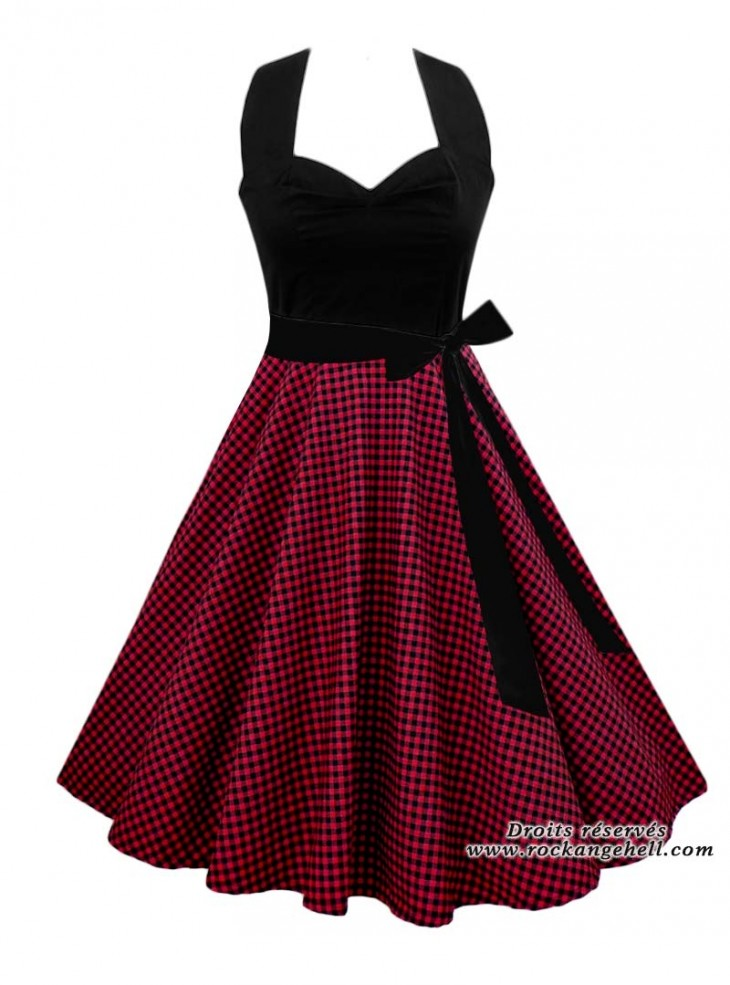 "Robe Pin-Up Vintage Rockabilly Rock Ange'Hell ""Vivien Black Red Vichy"""