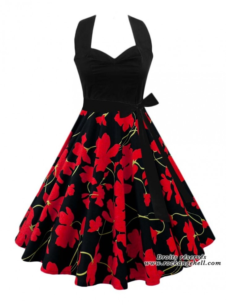 "Robe Années 50 Pin-Up Rockabilly Rock Ange'Hell ""Vivien Black Flowers"""