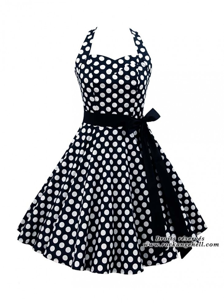 "Robe Pin-Up Rockabilly Rock Ange'Hell ""Sofia Big White Dots"""