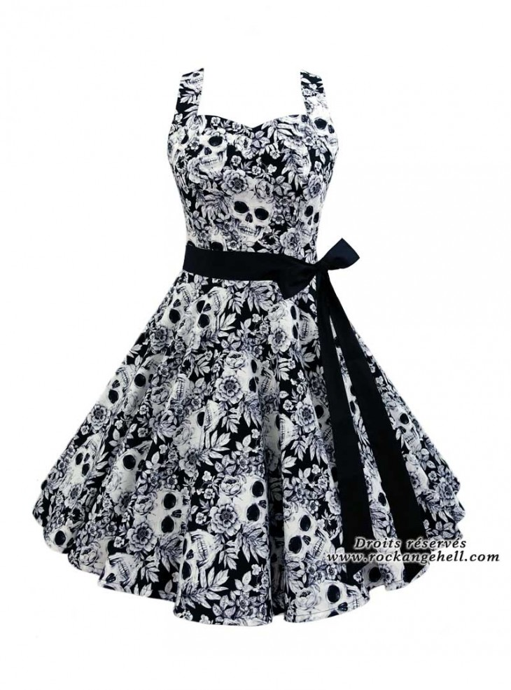 "Robe Gothique Rockabilly Rock Ange'Hell ""Sofia White Skulls"""